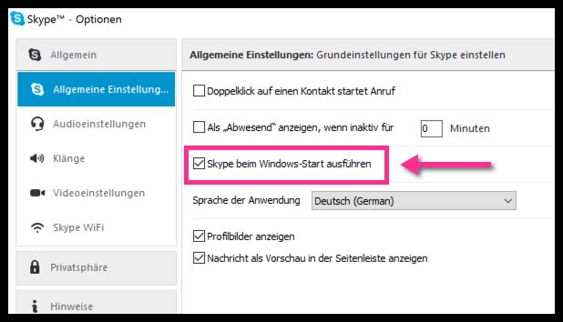 Skype beim Windowsstart ausführen