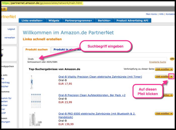 Verkürzte Amazon links erstellen