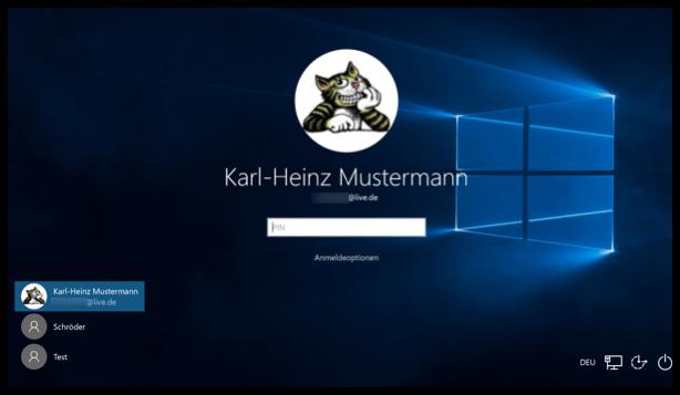 Windows 10 Anmeldebildschirm