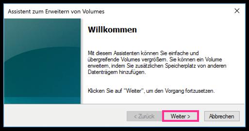Windows 10 Assistent zum Erweitern von Volumes