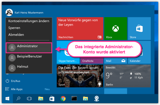 Windows 10 Das Integrierte Administrator-Konto wurde aktiviert
