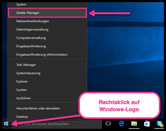 Windows 10 Geräte Manager öffnen