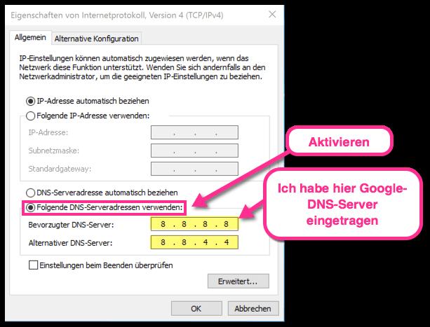 Dns Server ändern Windows 10