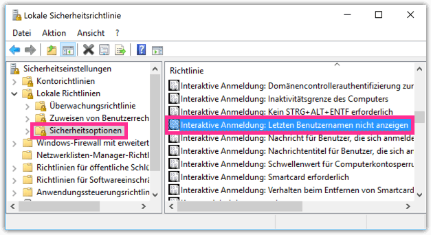 Windows 10 Letzten Benutzernamen nicht anzeigen
