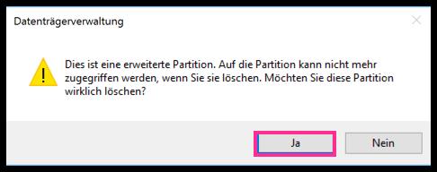 Windows 10 Partition löschen bestätigen