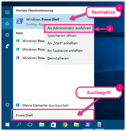 Windows 10 PowerShell als Admin ausführen