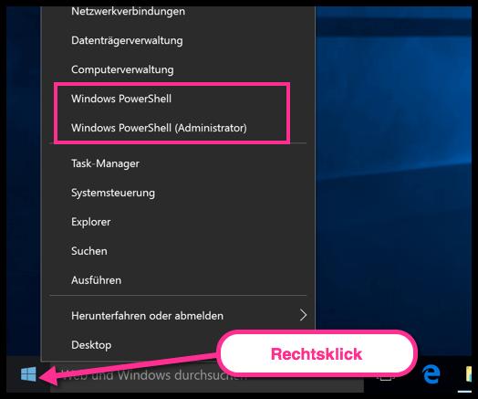Windows 10 PowerShell dauerhat Integrieren