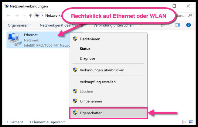Windows 10 Rechtsklick auf Ethernet oder WLAN