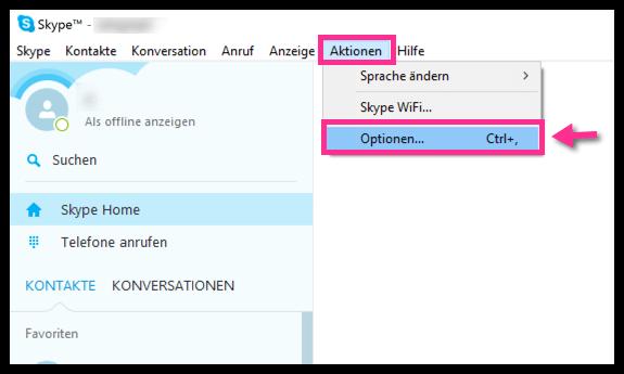 Windows 10 Skype Optionen