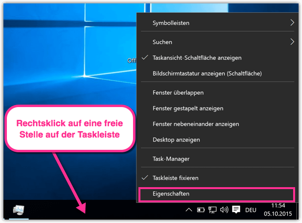 Windows 10 Taskleiste-Eigenschaften