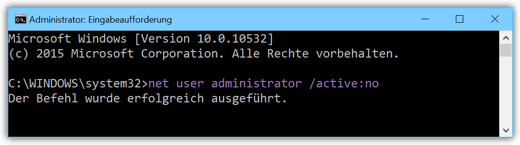 Windows 10 das integrierte Administrator-Konto deaktivieren