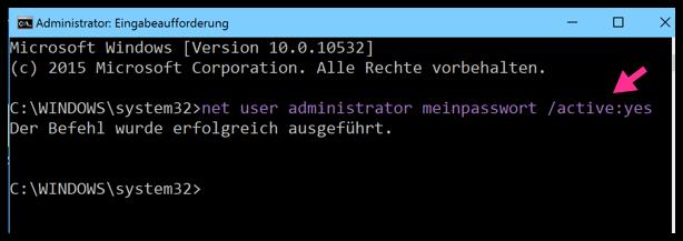 Windows 10 net user administrator password active-yes