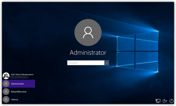 Windows Integrietes Administrator-Konto Login