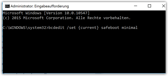 bcdedit set current safeboot minimal