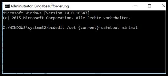 bcdedit set current safeboot minimal