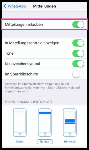 iPahone Alle WhatsApp-Mitteilungen deaktivieren