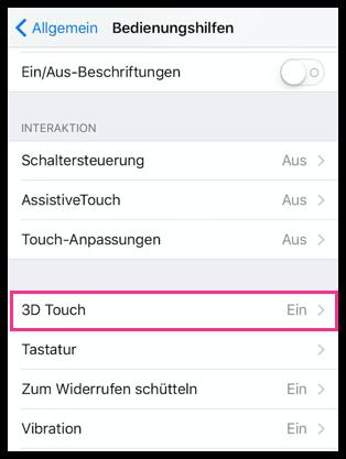 iPhone 3D Touch Einstellungen