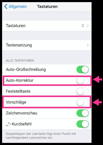 iPhone Autokorrektur und Vorschläge deaktieren oder aktivieren