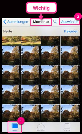 iPhone Bilder Momente auswählen