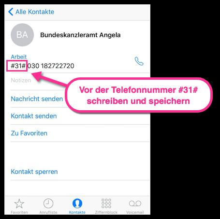iPhone Einen Kontakt für anonyme Anrufe speichern