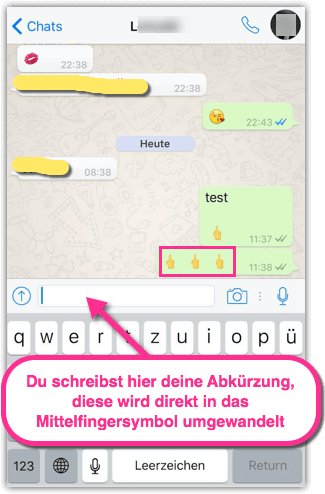 iPhone Mittelfingesymbol in WhatsApp Beispiel