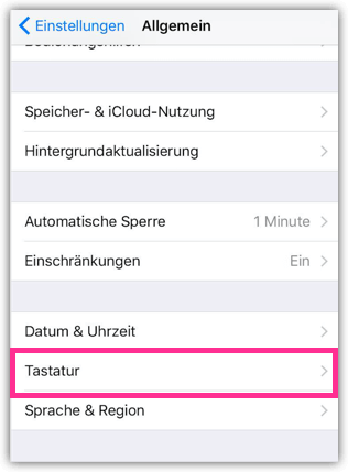 iPhone Tastatur-Einstellungen