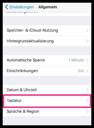 iPhone Tastatur-Einstellungen