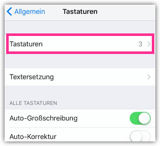 iPhone Tastaturen Einstellungen
