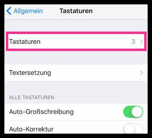 iPhone Tastaturen Einstellungen