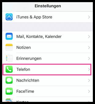 iPhone Telefon-Einstellungen