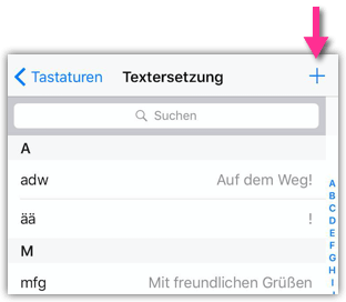 iPhone Textersetzung