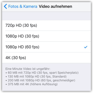 iPhone Video Aufloesung aendern