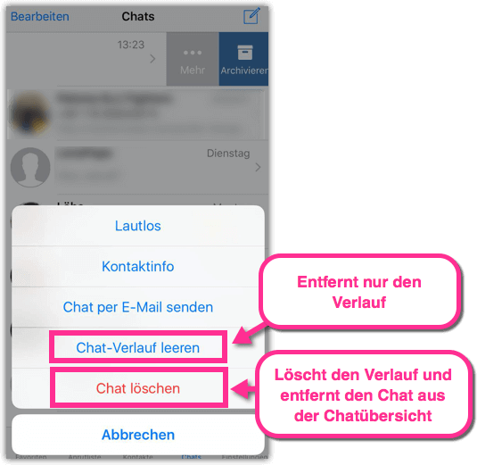 iPhone WhatsApp Chat loeschen