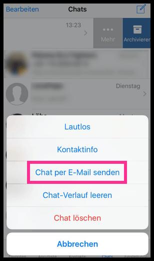 iPhone WhatsApp Chat per E-Mail senden