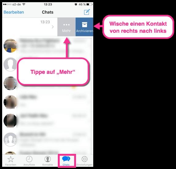 iPhone WhatsApp Kontakt Eigenschaften öffnen
