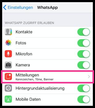 iPhone WhatsApp Mitteilungen Einstellungen