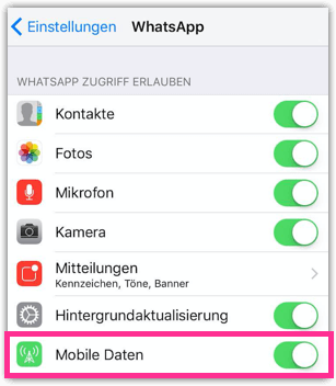 iPhone WhatsApp Mobile Datennutzung deaktivieren