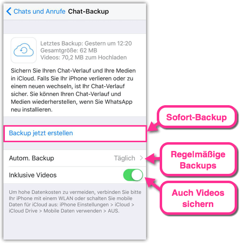 iPhone WhatsApp Sofort-Backup in der iCloud