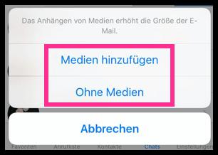 iPhone WhatsApp mit oder Ohne Medien E-Mail