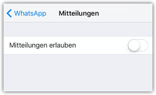 iPhone deaktivierte WhatsApp-Mitteilungen