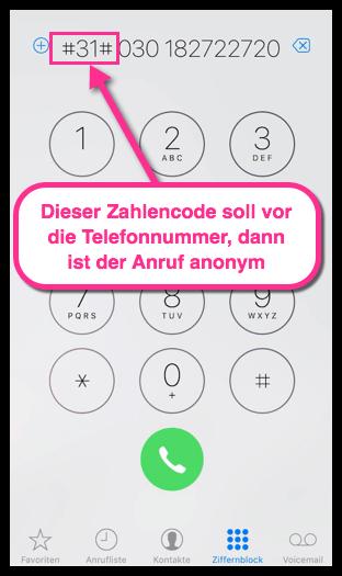 iPhone einmaliger anonymer Anruf