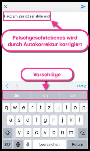 iPhone iPad Autokorrektur und Vorschläge Beispiel