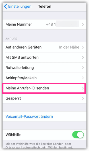 iPhone meine Anrufer ID Senden
