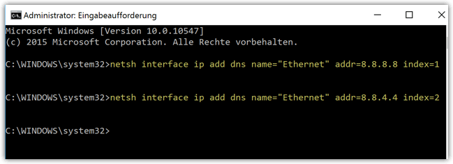 netsh interface ip add dns name Ethernet