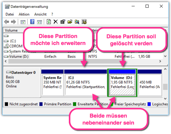 windows 10 partitionen