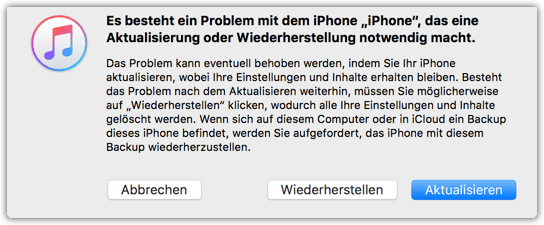 Es besteht ein Probelem mit dem iPhone