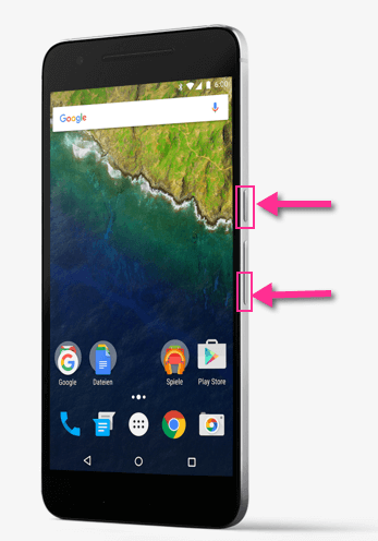 Google Nexus 6P Screenshots mit Lauter und Power Tasten