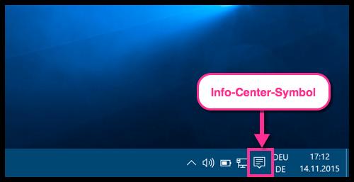 Info-Center-Symbol auf der Taskleiste