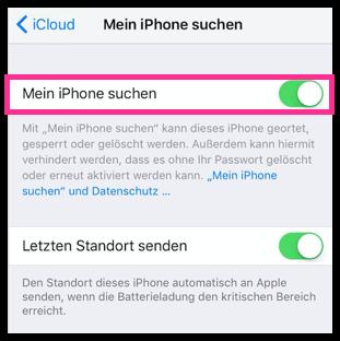 Mein iPhone Suche aktivieren deaktivieren