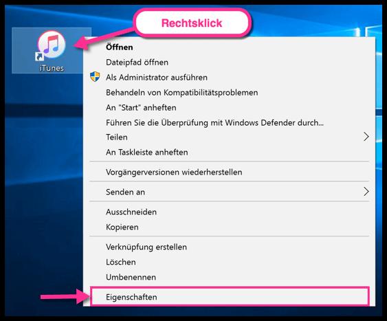 Windows 10 Eigenschaften einer Verknuepfung